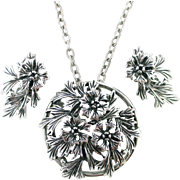 JUDY LEE Large leaf floral pin/pendant necklace earrings