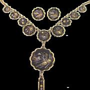 Japanese Damascene Necklace Earrings Set K24