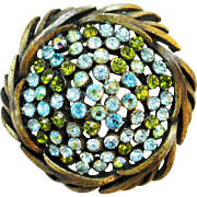 1950s KARU ARKE blue and green AB rhinestone brooch