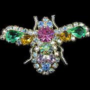 Brilliant KRAMER rhinestone flying bee - insect brooch