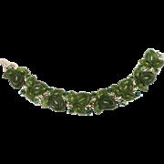 LISNER green leaf rhinestone thermoset bracelet