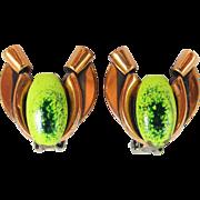 "Book MATISSE Renoir ""Tulip"" earrings in Copper and Green"