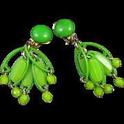 Mod Green Plastic layered dangle earrings