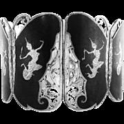 Wide SIAM Sterling Niello Filigree link bracelet
