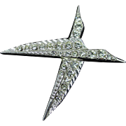 Vintage signed ORA  Swarovski rhinestone, rhodium plated, bird pin - brooch
