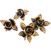Unique RENOIR copper roses pin and earrings set