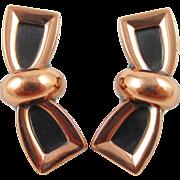 RENOIR copper black tie bow earrings
