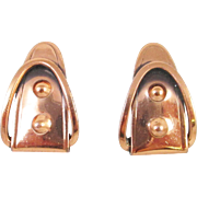 Unusual RENOIR copper Buckle Earrings