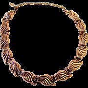 Renoir Waves copper link necklace 1950s