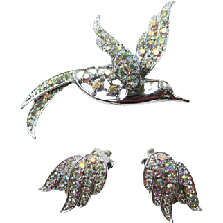 "SARAH COVENTRY ""Bird of Paradise"" Pin Earrings Set"