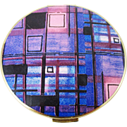 1970s STRATTON mod purple plaid powder compact