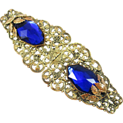Very Vintage Filigree belt buckle with large blue stones