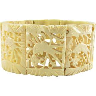 Carved Bone Bracelet Stretch Link