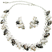 CLEARANCE 1950s Confetti Lucite necklace and earrings set