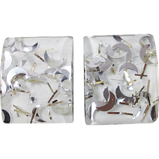 Confetti Lucite White Silver Earrings