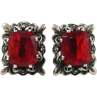 Vintage 925 Sterling Mexico Red Stones