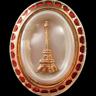 European enamel pearlized  Eiffel Tower Pin