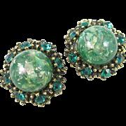 Green Confetti Lucite Rhinestone Earrings