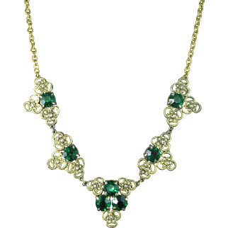 Vintage Filigree Emerald Green and Clear Rhinestone Necklace