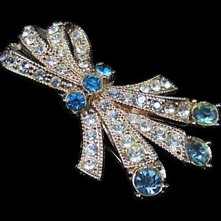 Oh Baby blue aqua clear rhinestone bow brooch