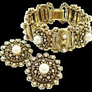 Book Link Bracelet Earrings Set Rhinestone Faux Pearl