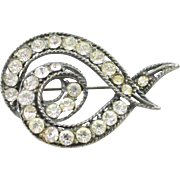 Loop de Loop Rhinestone pot metal brooch