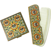 VOLUPTE Enameled Persian Compact and Comb Set