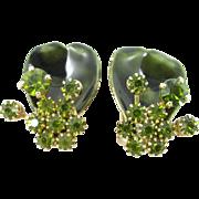 WEISS Green Rhinestone and Enamel floral earrings