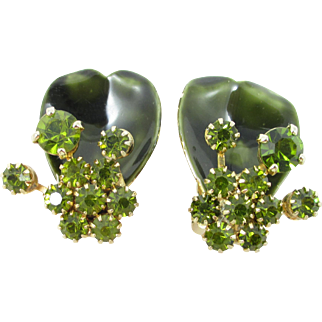 WEISS Green Rhinestone and Enamel floral earrings