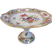 Carl Thieme Dresden Flowers German Porcelain Reticulated Compote