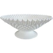 Large Vintage Fenton Milk Glass Hobnail Ribbon Edge Pedestal Foot Bowl