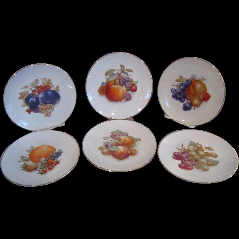 6 schumann arzberg bavaria germany fruit nut decorated plates from applegate on ruby lane. Black Bedroom Furniture Sets. Home Design Ideas