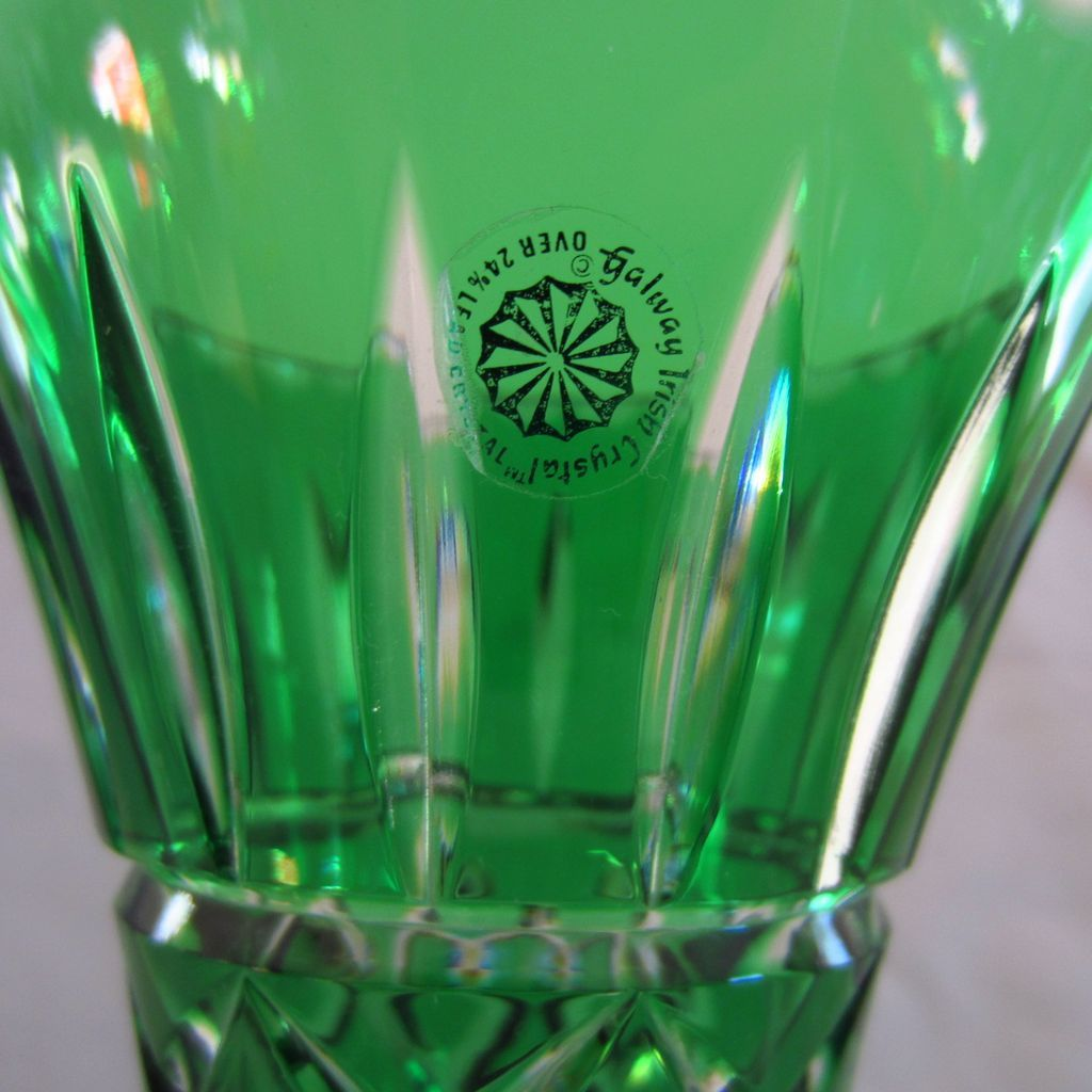 Signed Emerald Green Cut To Clear Galway Irish Crystal