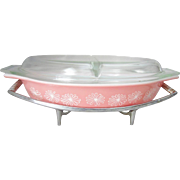 Vintage Retro #32 Pyrex Pink Daisy Divided Casserole with Lid and Chrome Serving Stand