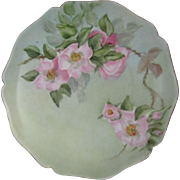 Antique Wm. Guerin Limoges Plate with Hand Painted Pink Wild Roses