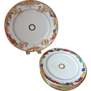 19th C. European Victorian Hand Painted Embossed Dessert Set for Six