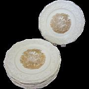 10 Mason's Oak Vista Gold English Ironstone Porcelain Dinner Plates