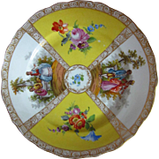 """Antique Richard Klemm Dresden Watteau Quatrefoil Hand Painted Cabinet Plate, 8"""""""