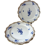 "5 Antique Doulton Burslem Chelsea Pattern Flow Blue 9"" Bone China Plates"