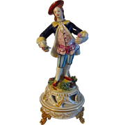 """Antique French Porcelain Sevres Double """"L"""" Marked Courting Gentleman Figurine"""