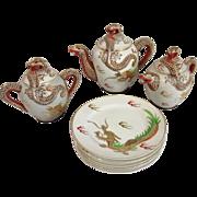 Japanese Moriage Dragonware Tea Set Marked Victoria China