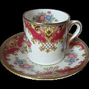 Shelley English Bone China Sheraton Pattern Demitasse Cup and Saucer
