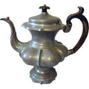 James Dixon & Sons 19th C. Pewter Coffee Pot with Ebonized Wooden Handle