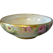 Rosenthal Selb Centerpiece Bowl with Hand Painted Roses and Pearl Lustre Interior