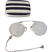 Antique Art Deco White Gold Filled Folding Lorgnette Eyeglasses in Metal Case