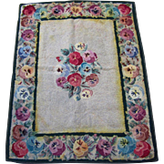 "Antique Hooked Rug with Pansy Floral Design – 33"" by 42"""