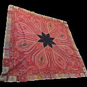 "Antique Kashmir Paisley Shawl with Star Shape Black Center, 74"" x 74"""