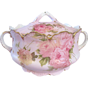 Circa 1900 Rosenthal Malmaison 2 Handled Biscuit Jar with Pink Roses - Red Tag Sale Item