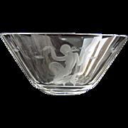 Large Lars Kjellander Swedish Art Glass Bowl with Etched Mermaid