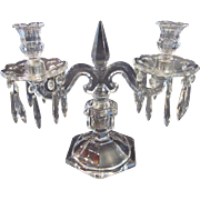 Antique Heisey Old Williamsburg Glass Two Light Candelabra with Prisms